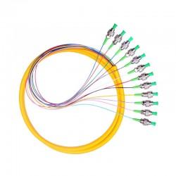 12 스트랜드 9/125 광섬유 피그테일 1.2m FC/APC 싱글 모드, 12 섬유 피그테일