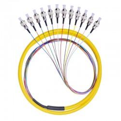 12 스트랜드 9/125 광섬유 피그테일 1m FC/UPC 싱글 모드, 12 섬유 피그테일