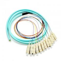 12 섬유 피그 테일 SC / UPC 50 / 125 멀티 모드 OM3 무리 12 코어 광섬유 피그 테일 - 0.9mm PVC 재킷