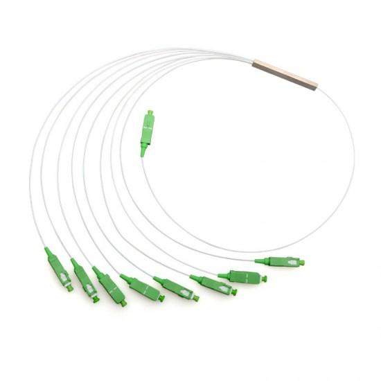 Fiber Optical PLC Splitter SC APC 1 : 8 Mini steel tube type 1x8 0.9mm Fiber Opitc Splitter SC/APC Connector