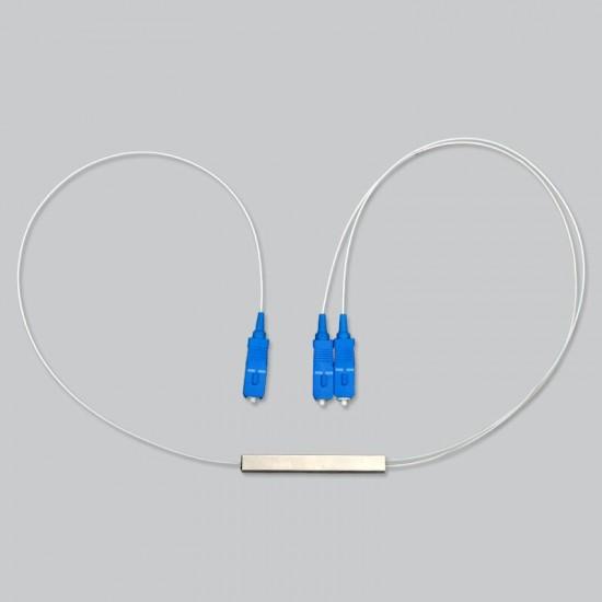 Fiber Optical PLC Splitter SC 1 : 2 Mini steel tube type 1x2 0.9mm SC UPC