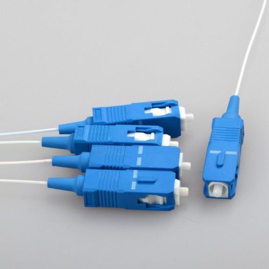 Fiber Optical PLC Splitter SC 1 : 4 Mini steel tube type 1x4 0.9mm Fiber Opitc Splitter SC/UPC Connector